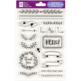 Peter Pauper Peter Pauper: Clear Stamp Set - Broders, Frames & Icons