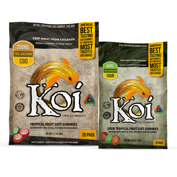 Koi CBD Koi CBD Tropical Gummies (10MG per Gummy) 6-Count / Bag single