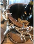 Wood pewter elk ice bucket