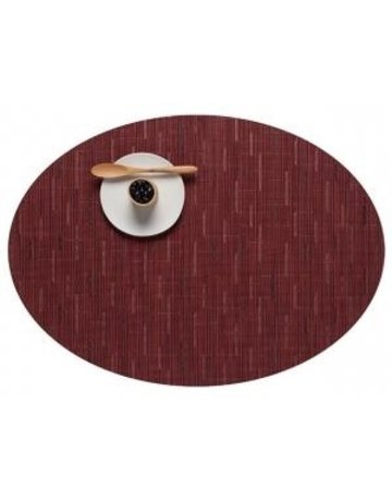 Bamboo oval placemat cranberry