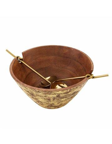 Gold washed wood salad bowl set