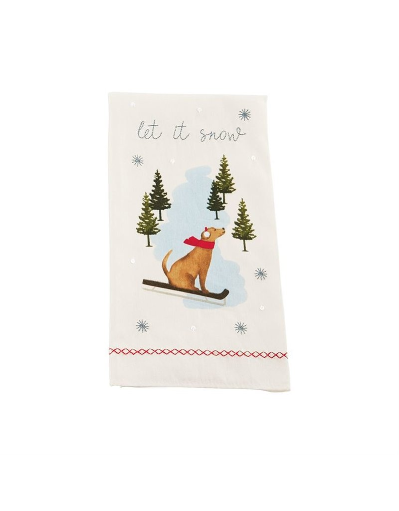 Dog skiing  tea towel
