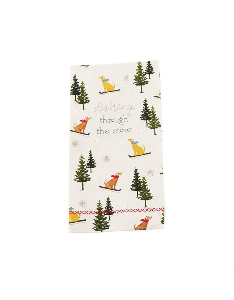 Dog skiers tea towel