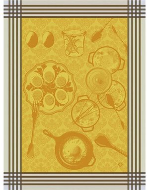 LJF Oeufs Recettes egg tea towel