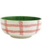 Plaid footed serve bowl