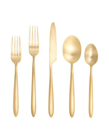 Velo gold brushed flatware 5 pc