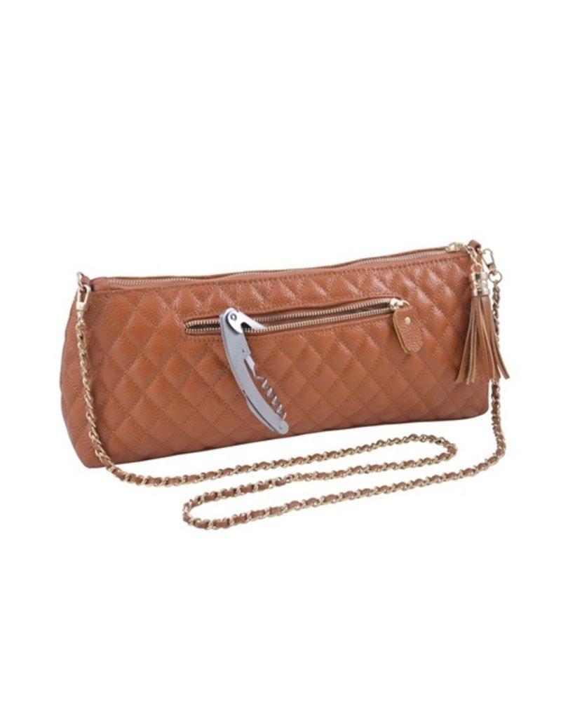 Leather wine clutch