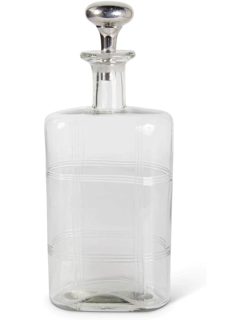 Etched glass decanter with stopper