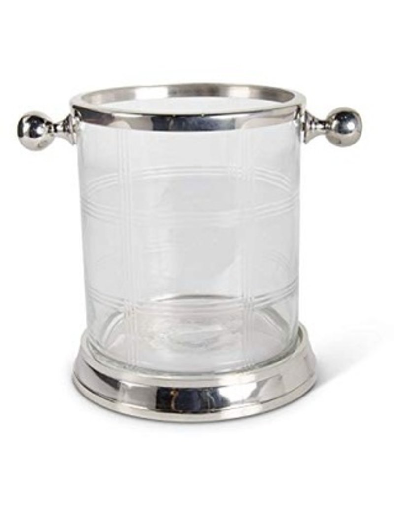 Etched glass ice bucket w/handles