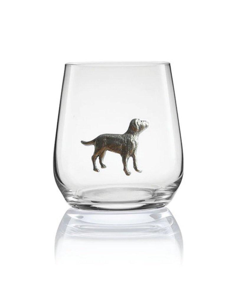 Pewter dog stemless glass