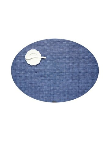 Bayweave oval placemat, blue jean