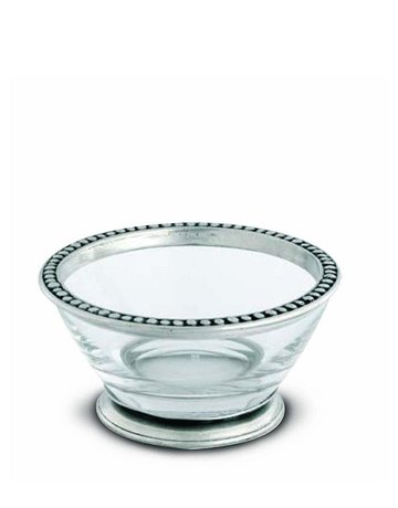 Glass bowl with pewter beads sm