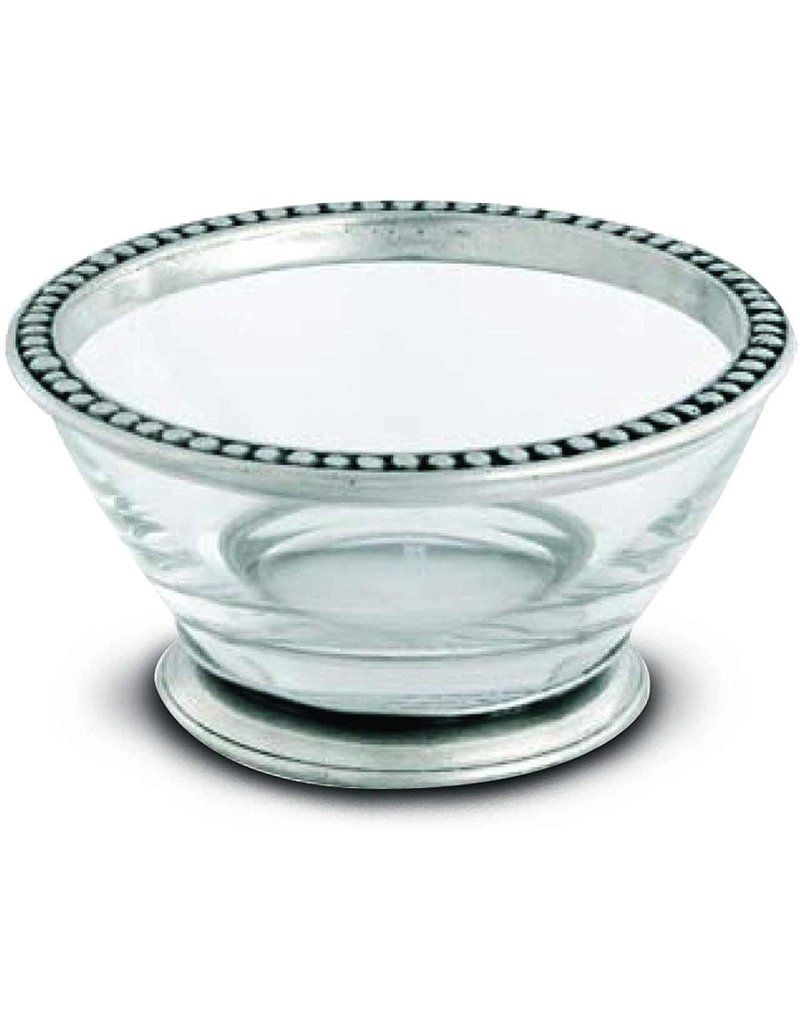 Glass bowl with pewter beads