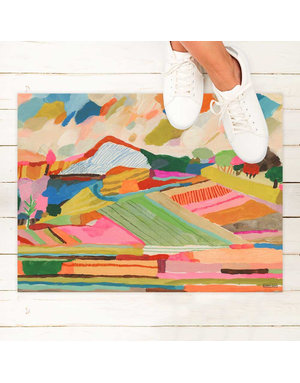 Mountains fields floor mat