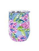 Stainless double wall wine glass pink florals