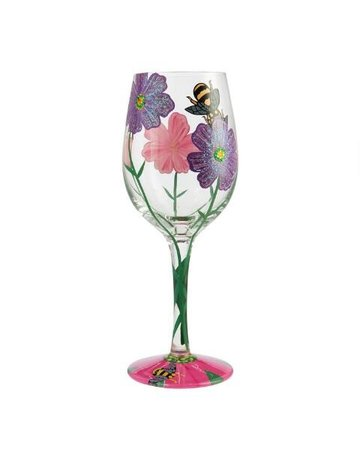 Flowers & Bees wine glass