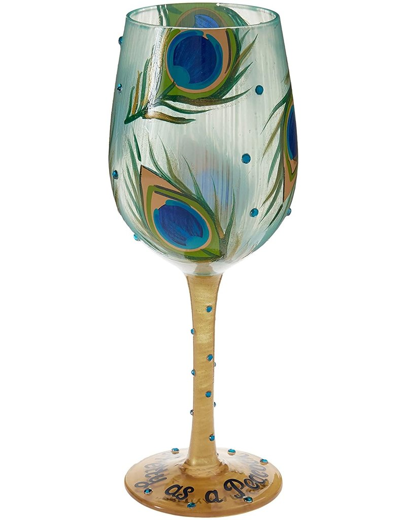 Pretty as Peacock wine glass