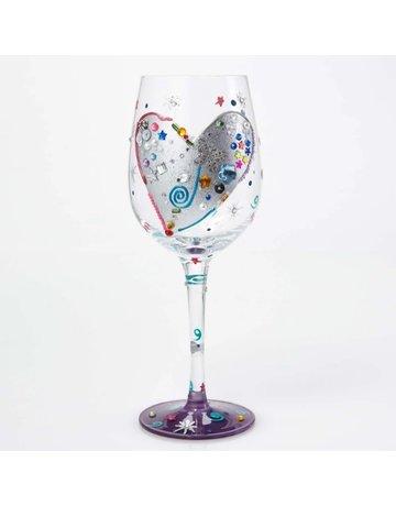 Silver heart wine glass