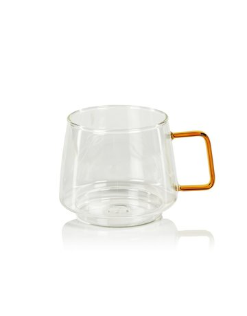 Glass coffee cup, amber handle