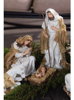 Hand painted Nativity Set with Gold Shimmer 9-Piece