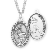 St. Sebastian Oval Sterling Silver Male Athlete Medal