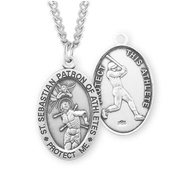 26e994aab94 St. Sebastian Oval Sterling Silver Male Athlete Medal
