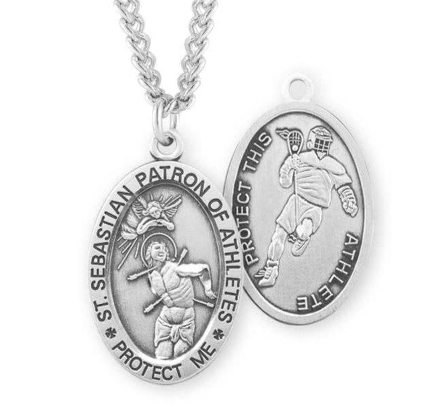 Saint Sebastian Oval Sterling Silver Male Athlete Medal