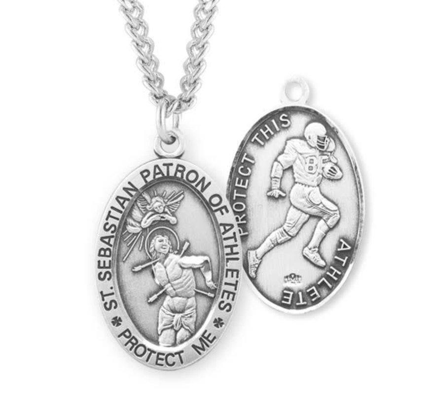 Saint Sebastian Oval Sterling Silver Male Athlete Medal
