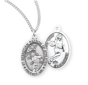 St. Sebastian Oval Sterling Silver Female Athlete Medal