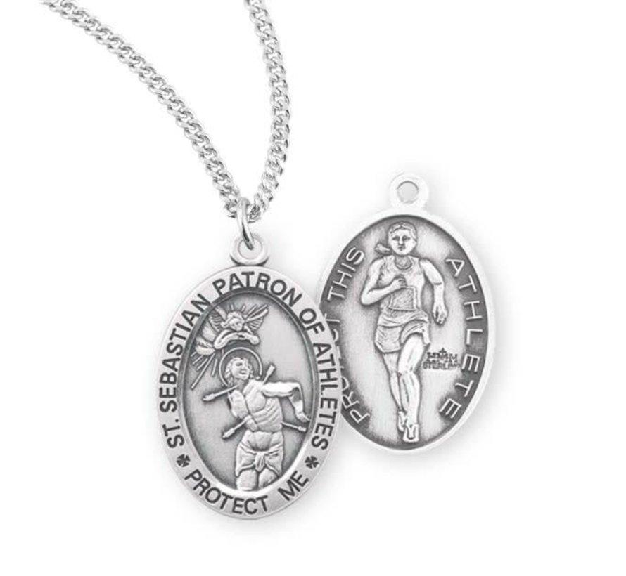 St. Sebastian Oval Sterling Silver Female Athlete Medal