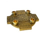 """9"""" CROSS ADVENT CANDLE HOLDER GOLD FINISH"""