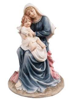 "9"" Seated Madonna & Child Statue"