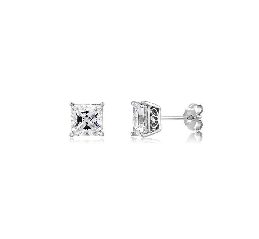 6mm SS CZ Square Stud Earring