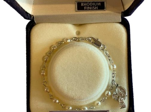 SP Pearl Baby Bracelet 5 1/2 with Celtic Cross & Miraculous Medal