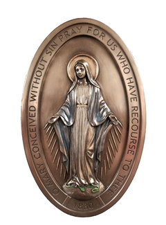 Miraculous Medal Plaque Cold Cast Bronze