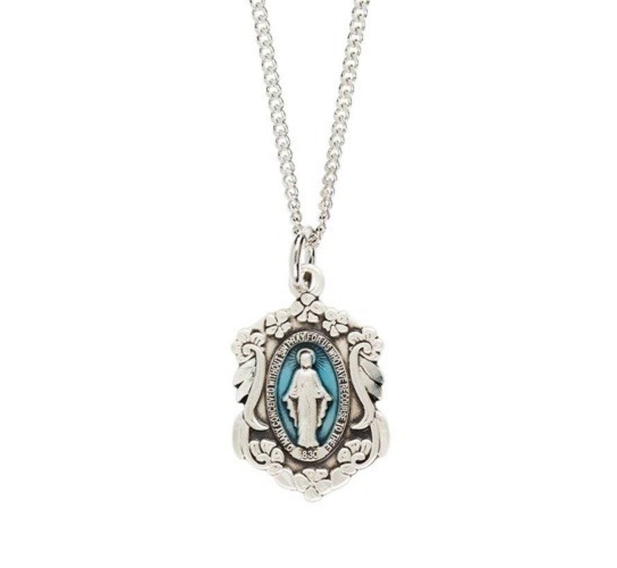 """Miraculous Medal with Blue Sterling Silver 18"""" chain"""