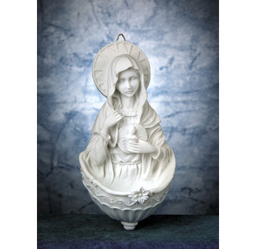 Immaculate Heart of Mary White Holy Water Font