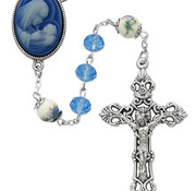 7MM Blue Crystal Cameo Rosary