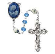 7MM Blue Crystal Cameo Rosary