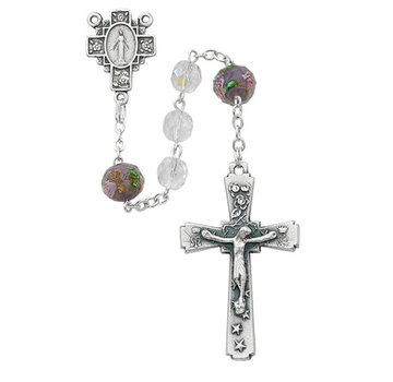 7MM Crystal AB Rosary with Flowers