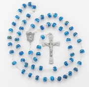 8mm Blue Marble Capped Bead New England Pewter Rosary