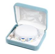 10mm Square Faceted Swarovski Crystal Rosary Bracelet Sterling Medals
