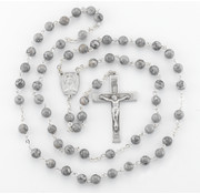 6mm Genuine Lime Line Gemstone New England Pewter Rosary