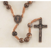 8mm Marbleized Brown Bead Corded  w/ St. Benedict