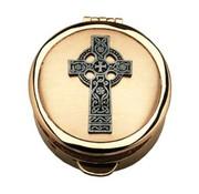 Celtic Cross Pewter Pyx Gold