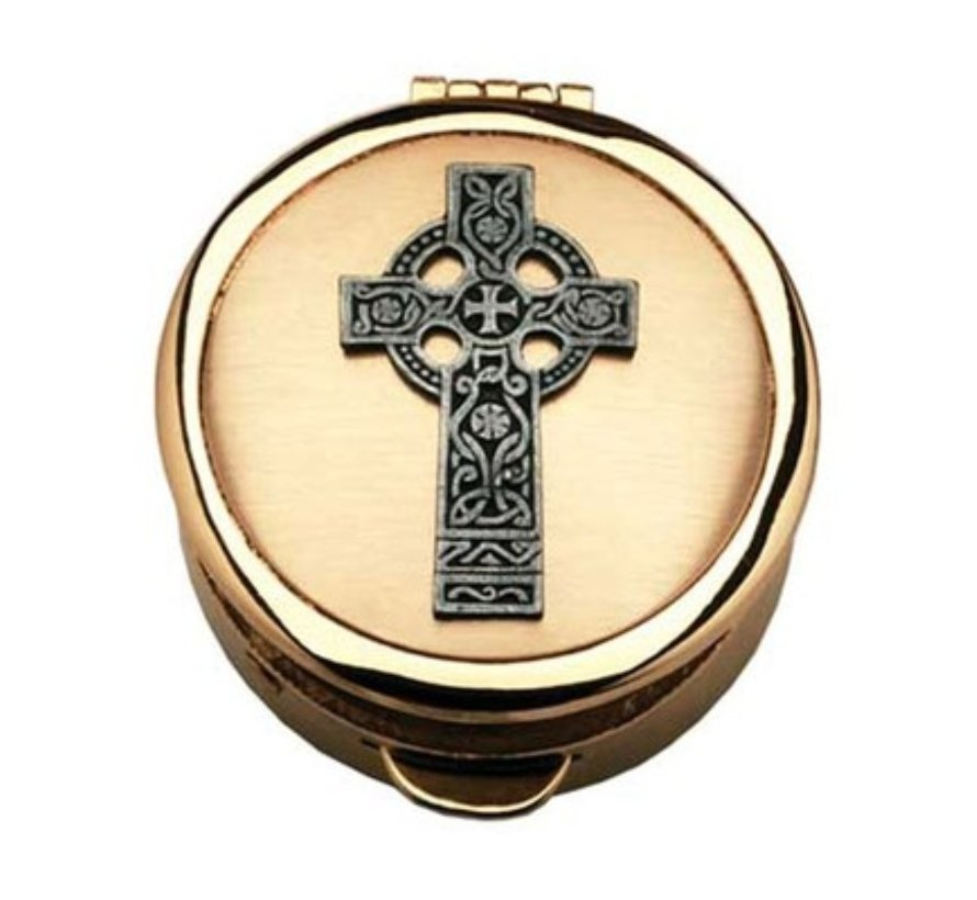 Celtic Cross Pewter Pyx Gold