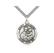 """SS St. Anthony Medal with 20"""" Stainless Chain"""