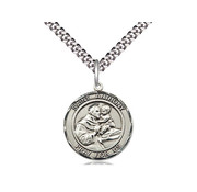 """SS St. Anthony Round Medal 20"""" Stainless Chain"""