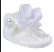 Crochet thong sandal with chiffon flower overlay