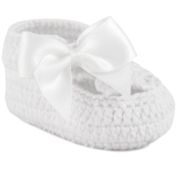 White Crochet Bootie with Satin Bow